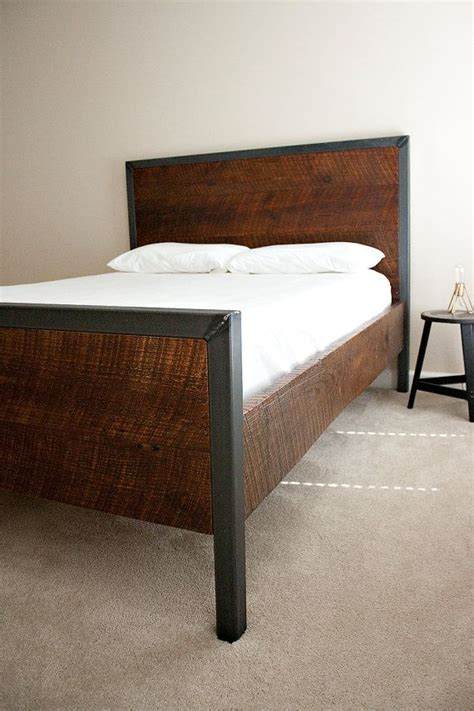 Modern Queen Bed Reclaimed wood and Raw Steel Dylan by