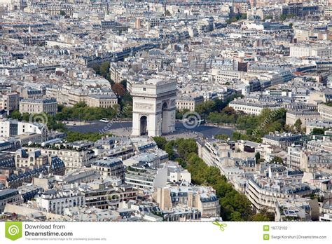 Top View Arch Of Triumph And Etoile Square Paris Stock