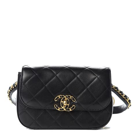 CHANEL Lambskin Quilted Chain Infinity Waist Belt Bag